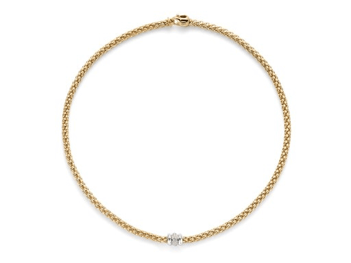 FOPE Solo Flex'It 18ct Yellow Gold Necklet with Diamonds - Hamilton & Inches