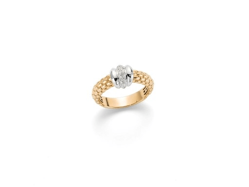 FOPE Flex'it Solo Ring with Pave Diamond Centre in 18ct Yellow Gold-Hamilton & Inches