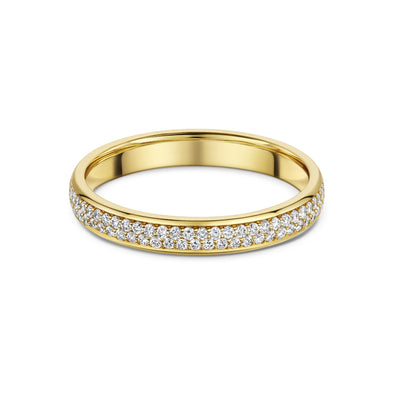 Round Brilliant-Cut Diamond Full Wedding Ring in 18ct Yellow Gold - Hamilton & Inches