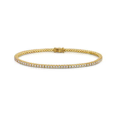 1.90ct Diamond line bracelet in 18ct yellow gold-H & I-Hamilton & Inches