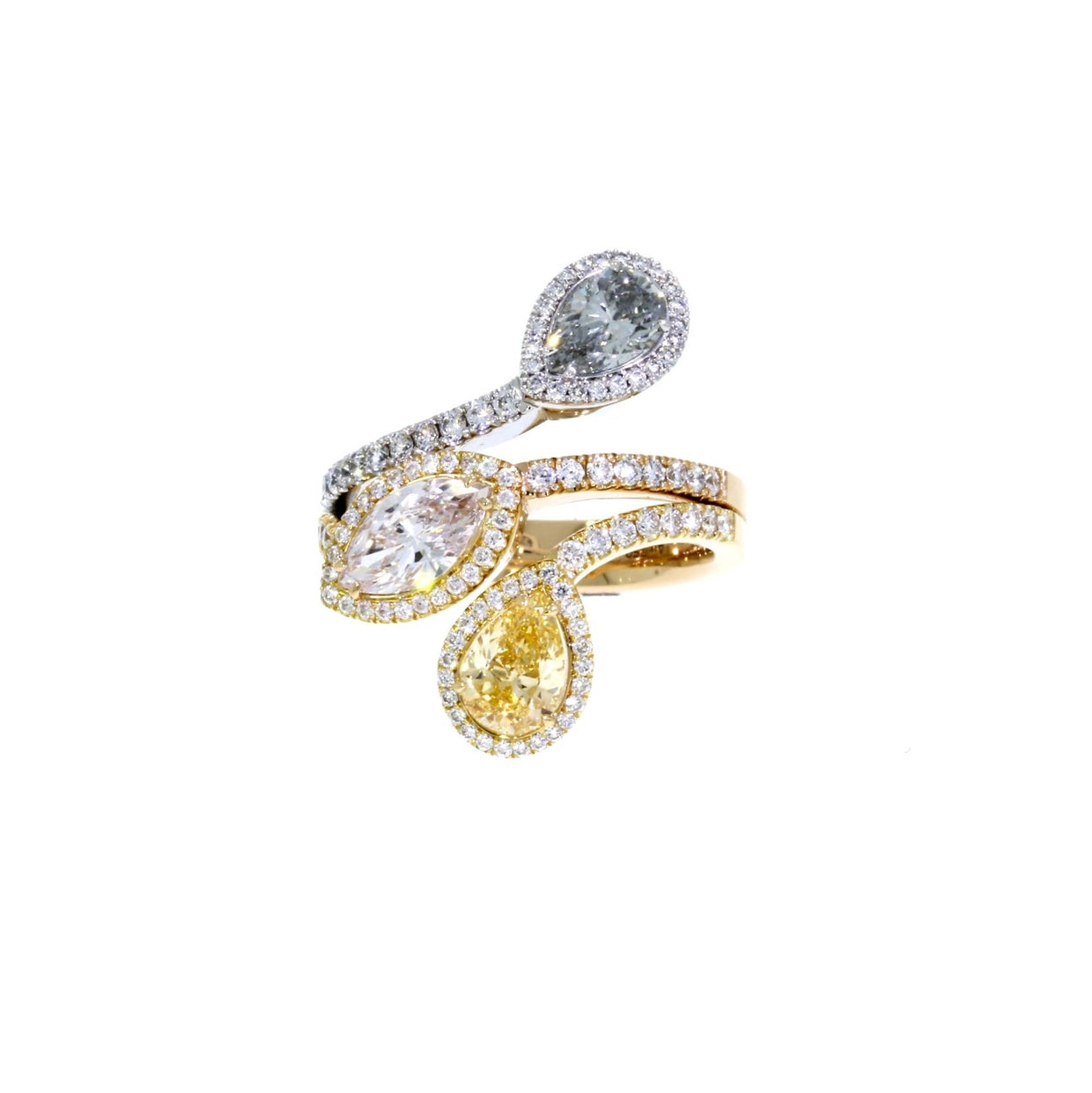 Pear-Cut 0.70ct Diamond Petal Ring in 18ct White and Rose Gold-Hamilton & Inches