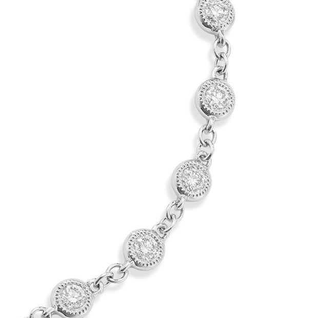 Dewdrop Diamond Millgrain Bracelet in White Gold-Hamilton & Inches