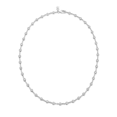 Dewdrop Diamond Millgrain Necklet in White Gold - Hamilton & Inches
