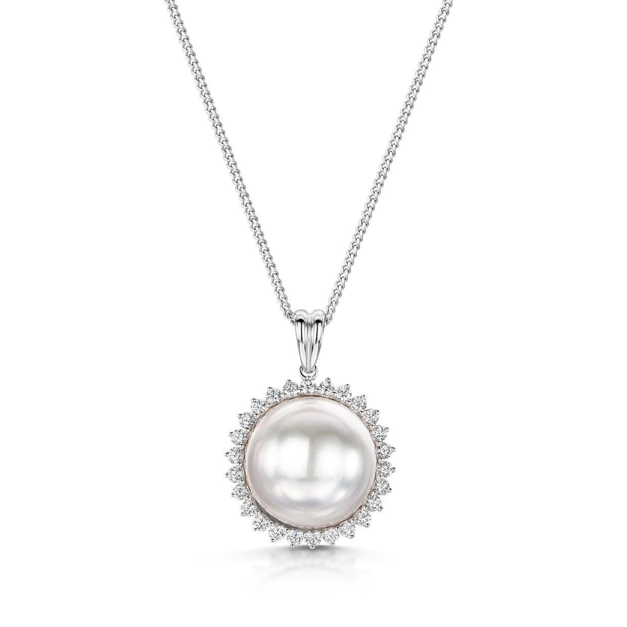 South Sea Pearl And Diamond Cluster Pendant - Hamilton & Inches