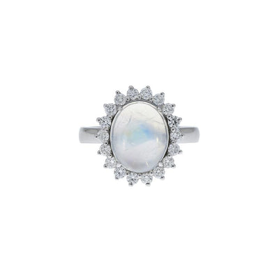 Moonstone And Diamond Cluster Ring in 18ct White Gold - Hamilton & Inches