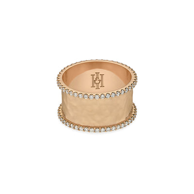 H&I Duke hammered ring in rose gold-H & I-Hamilton & Inches