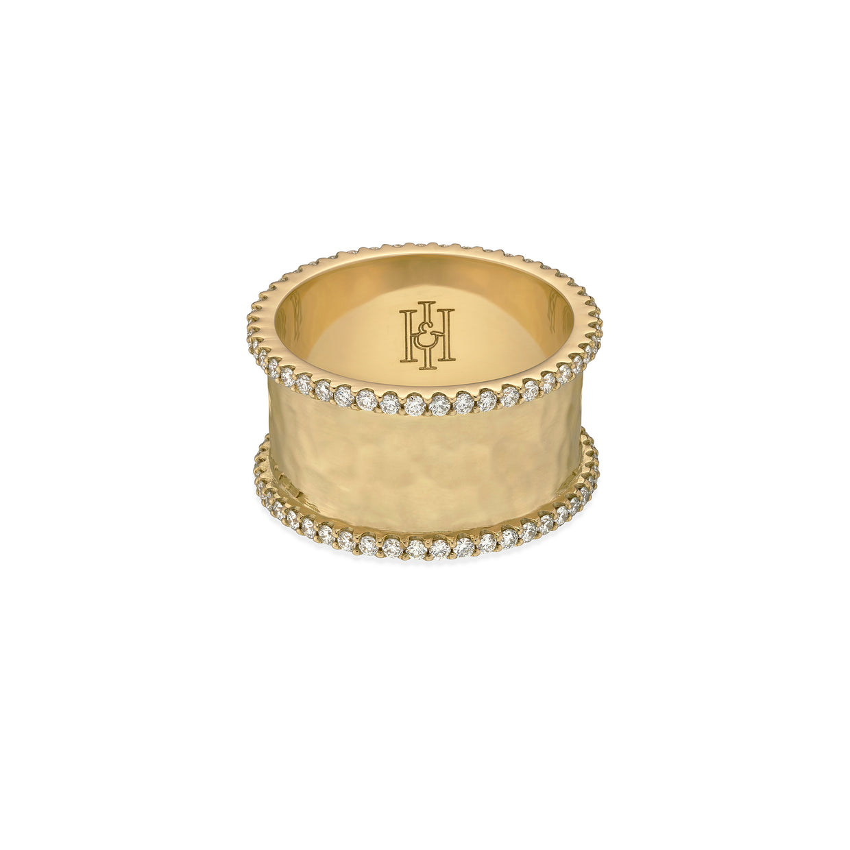 H&I Duke hammered ring in yellow gold