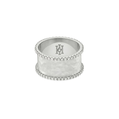 H&I Duke Hammered Ring in white gold-Hamilton & Inches