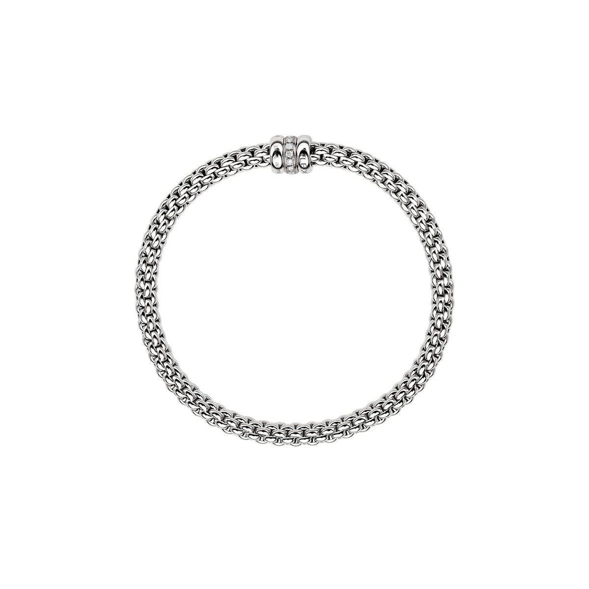 Fope Solo Flex'it 18ct White Gold Bracelet with Diamond Rondel-Hamilton & Inches