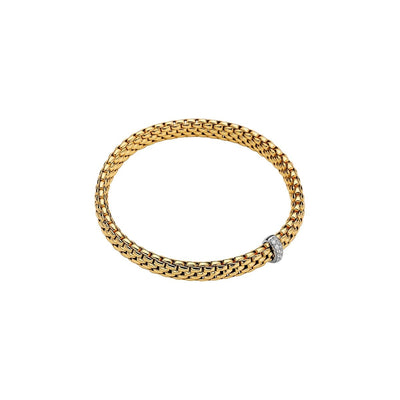 FOPE Flex'it Bracelet with Pave Diamond Set Rondel in 18ct Yellow Gold - Hamilton & Inches