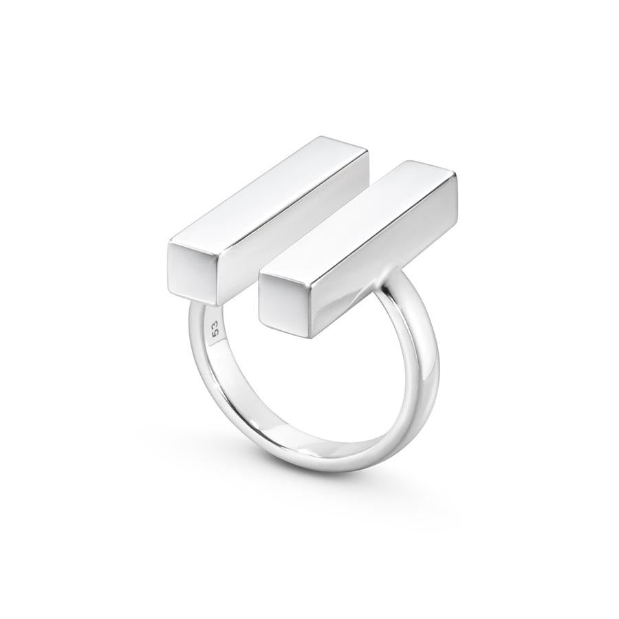 Georg Jensen Two Bar Aria Ring in Sterling Silver - Hamilton & Inches