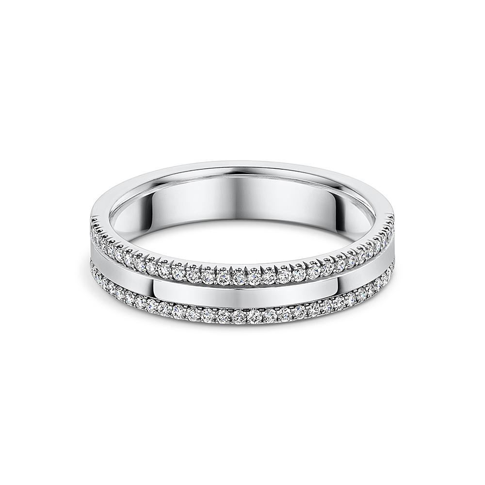 Two Row Round Brilliant Diamond 1/2 Wedding Band in Platinum - Hamilton & Inches