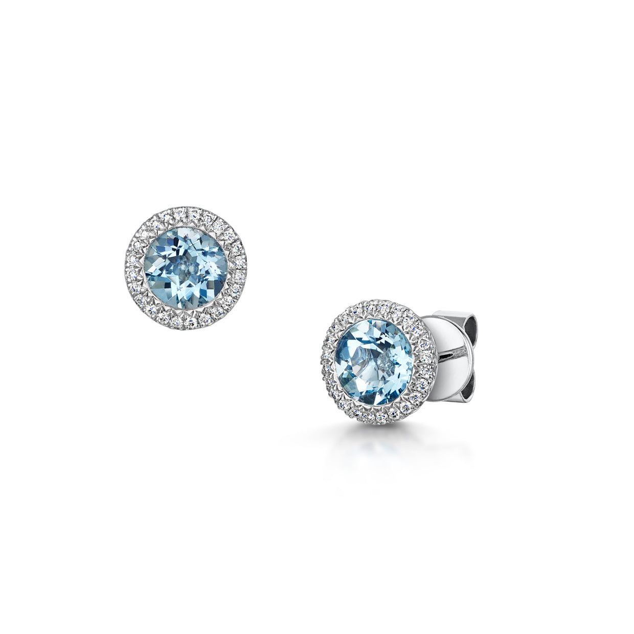 Aquamarine and diamond stud earrings in 18ct white gold-Hamilton & Inches