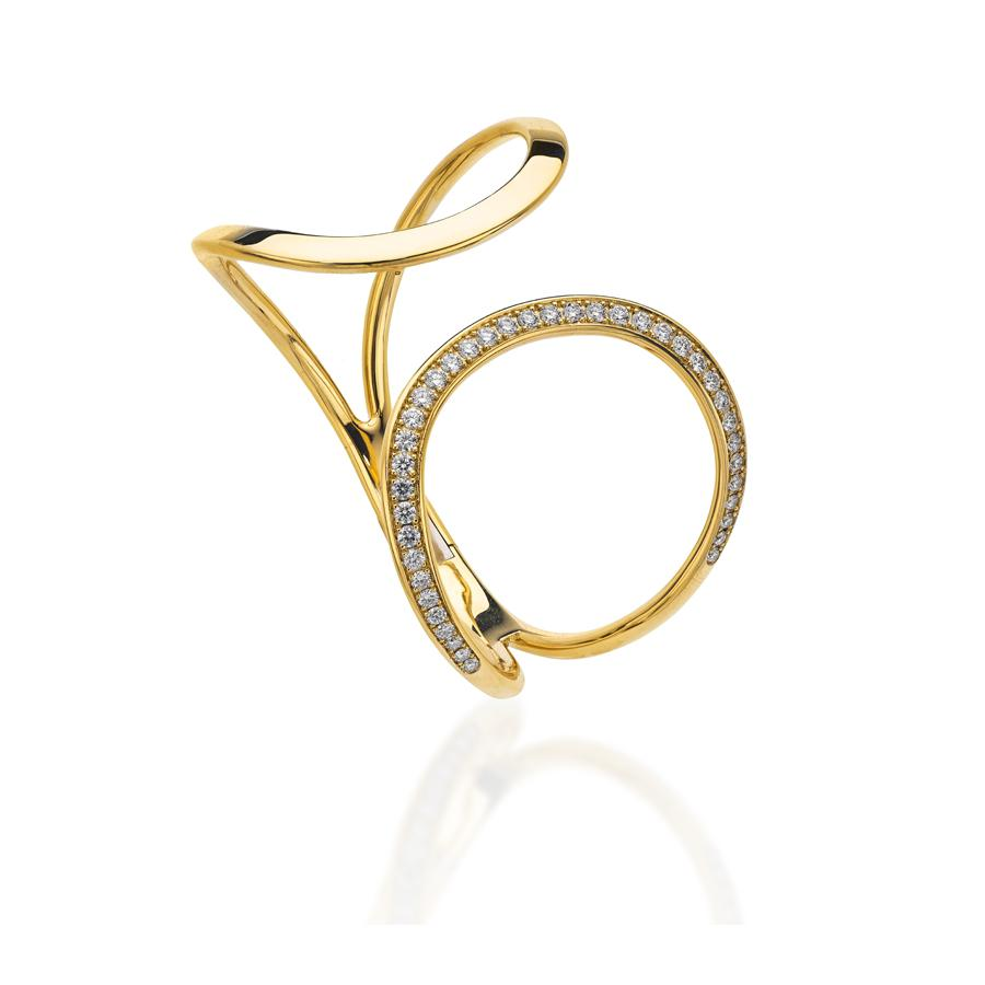 Pave Diamond Torque Bangle in Yellow Gold-Hamilton & Inches