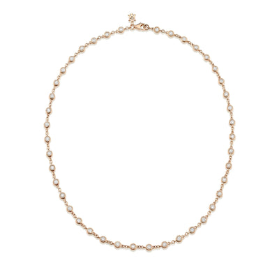 Dewdrop Diamond Millgrain Necklet in Rose Gold - Hamilton & Inches