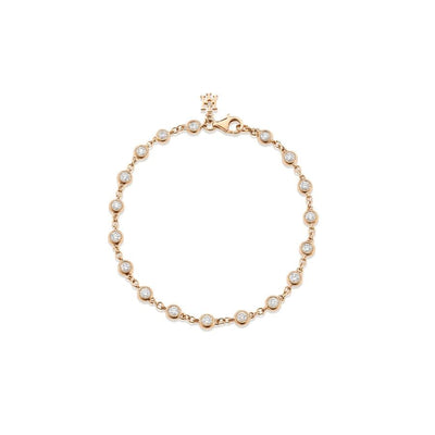 Dewdrop Diamond Millgrain Bracelet in Rose Gold - Hamilton & Inches