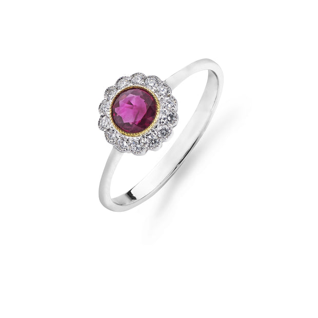 Round Brilliant-Cut Ruby & Diamond Cluster Ring in 18ct White Gold - Hamilton & Inches