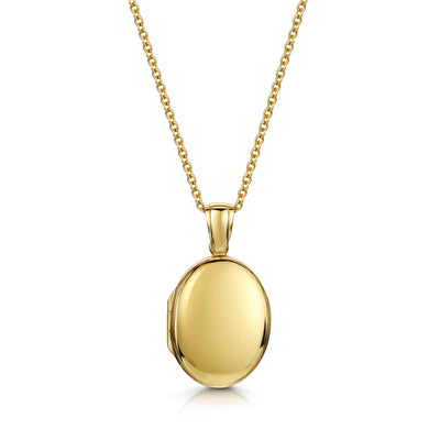 Plain Oval Locket in 18ct Yellow Gold-Hamilton & Inches