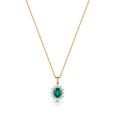 Emerald and Diamond Cluster Pendant in 18ct White Gold-Hamilton & Inches