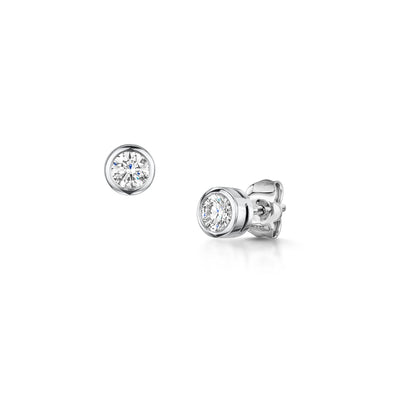 18ct white gold diamond stud earrings-Hamilton & Inches