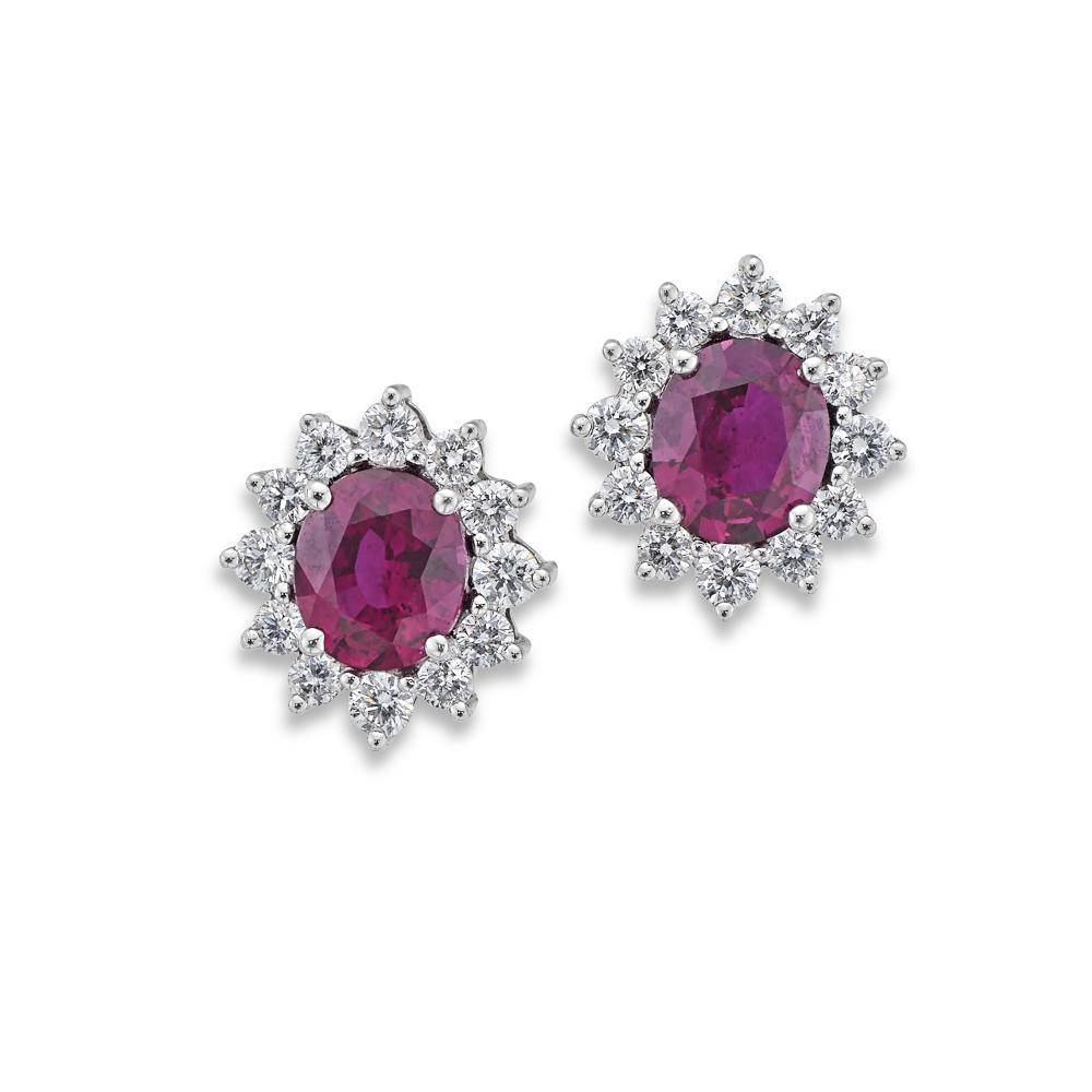 18ct White Gold Earrings Ruby & Diamond Cluster-Hamilton & Inches