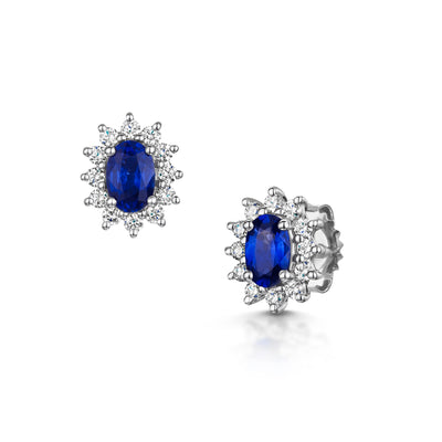 Oval Cut Sapphire and Diamond Earrings-Hamilton & Inches