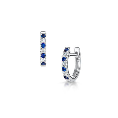 Sapphire & Diamond Huggy Earrings in 18ct White Gold-Hamilton & Inches