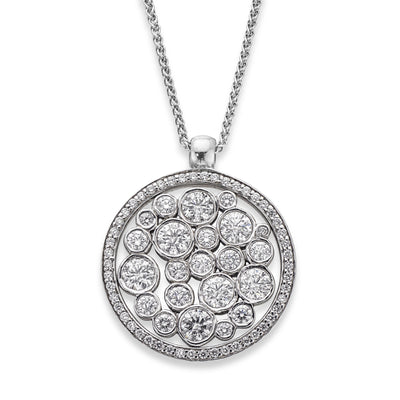 Diamond Bubble Cluster Pendant in 18ct White Gold-Hamilton & Inches