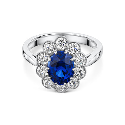 Sapphire and Diamond Cluster Engagement Ring in Platinum-Hamilton & Inches