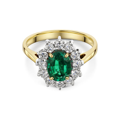 Diamond and Emerald Cluster Engagement Ring in 18ct Yellow and White Gold-Hamilton & Inches