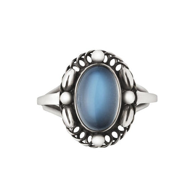 Georg Jensen Moonlight Blossom Ring in Oxidised Sterling Silver with Single Oval Moonstone - Hamilton & Inches