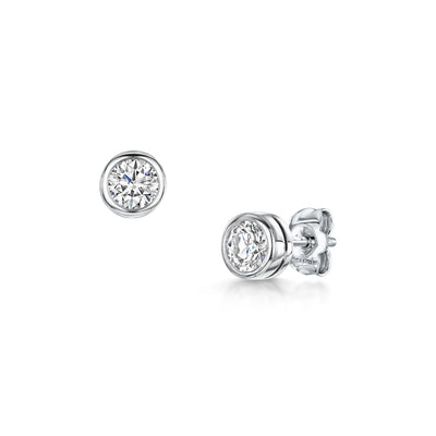 0.90ct Brilliant-Cut Diamond Stud Earrings in 18ct White Gold - Hamilton & Inches
