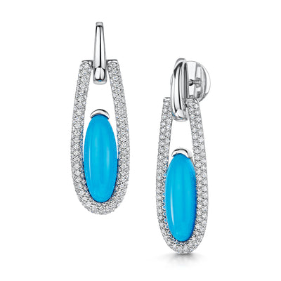 Turquiose Cabochan Art Deco Drop Earrings in 18ct White Gold-Hamilton & Inches