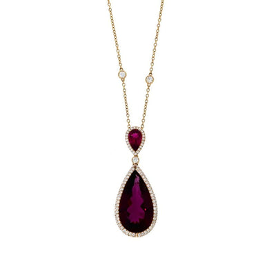 Rubellite and Diamond Pendant in Rose Gold - Hamilton & Inches
