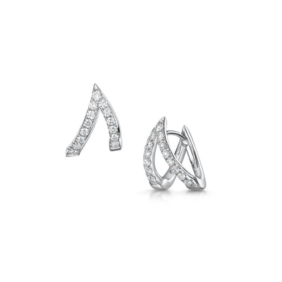 V Collection Earrings in 18ct White Gold-H & I-Hamilton & Inches