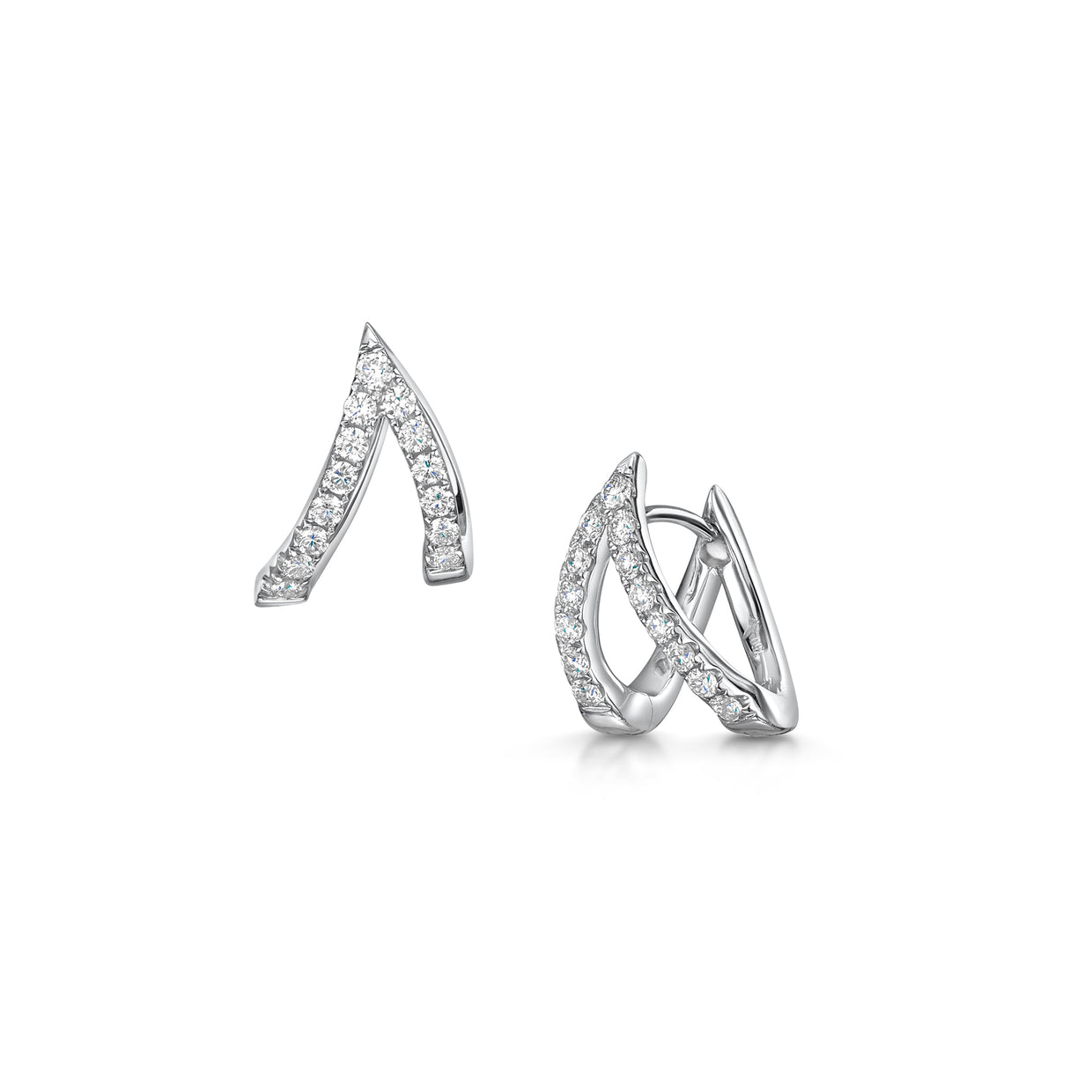 V Collection Earrings in 18ct White Gold-Hamilton & Inches