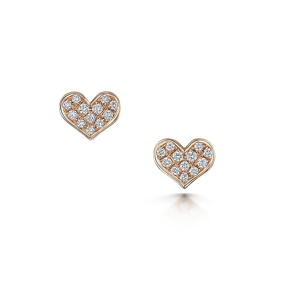Diamond Heart Stud Earrings in 18ct Rose Gold-Hamilton & Inches