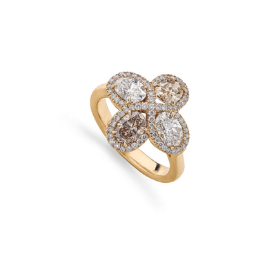 Mixed-Cut Diamond Cluster Ring in 18ct Rose Gold - Hamilton & Inches