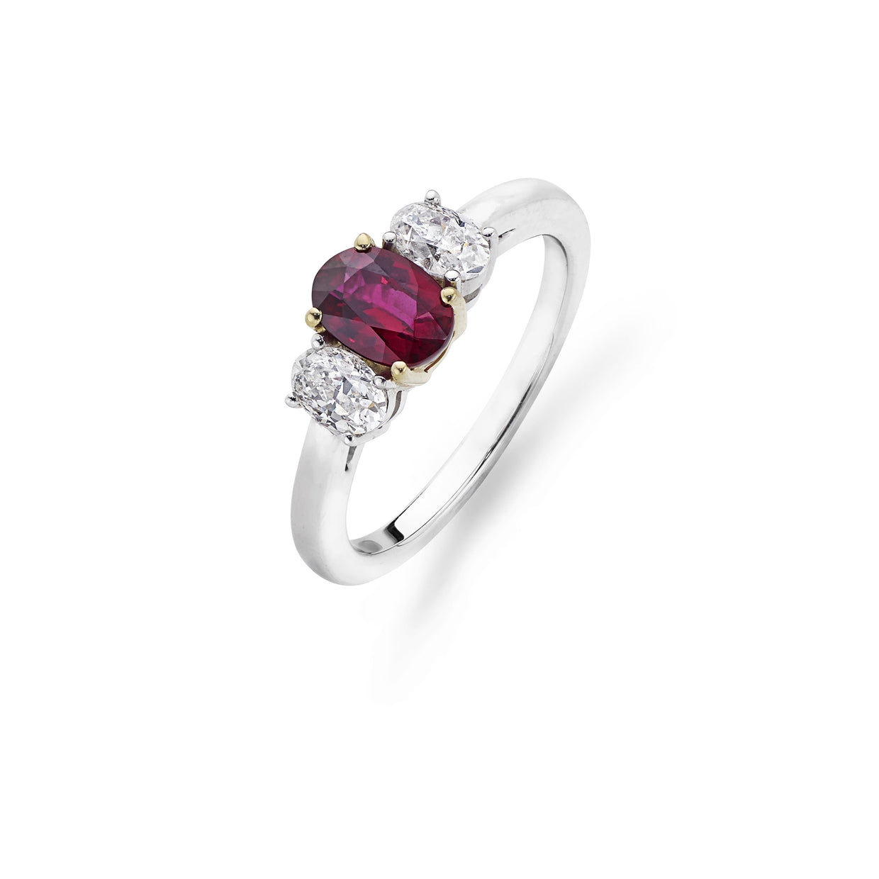 Ruby & Diamond 3-Stone Engagement Ring in Platinum-Hamilton & Inches