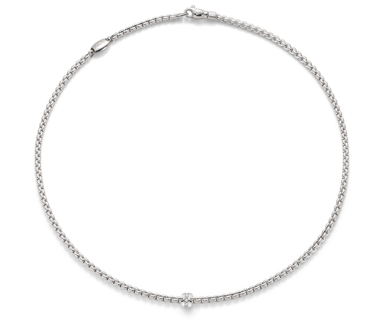 FOPE Eka Tiny Diamond Necklace in 18ct White Gold (43cm) - Hamilton & Inches