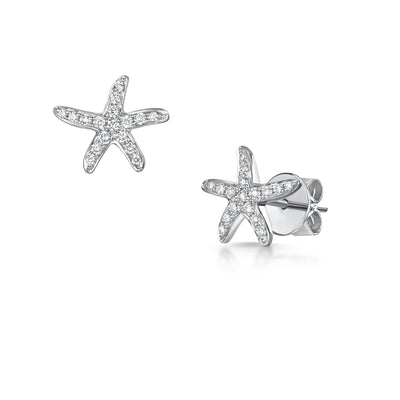Diamond Starfish Stud Earrings in 18ct White Gold-Hamilton & Inches