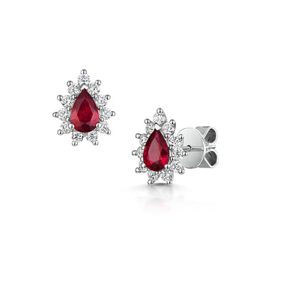 Ruby and Diamond Cluster Stud Earrings in 18ct White Gold-Hamilton & Inches