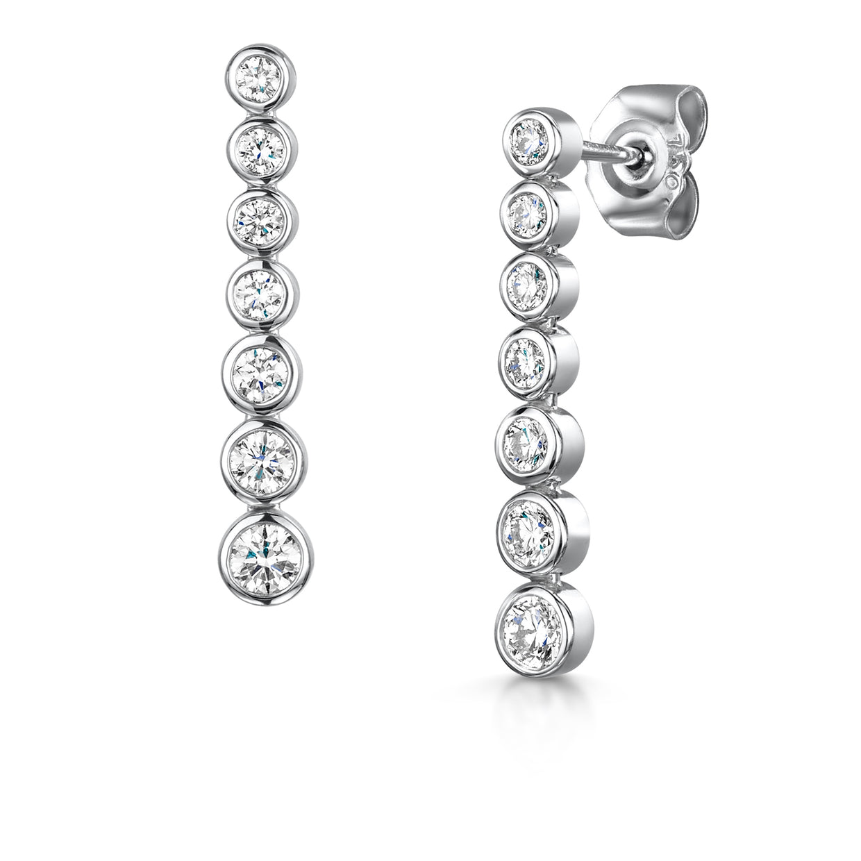 Diamond Waterfall Drop Earrings in 18ct White Gold-Hamilton & Inches