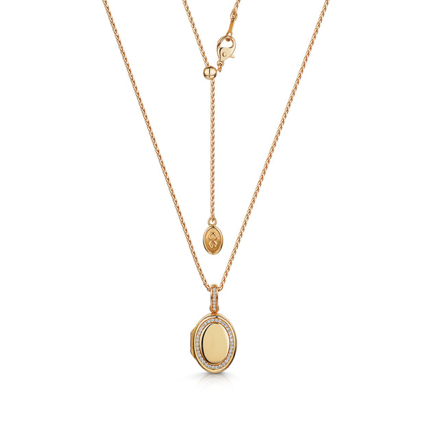 Oval Locket in 18ct Rose Gold-Hamilton & Inches