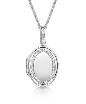 Oval Locket with 41 Round Brilliant Cut Diamonds in 18ct White Gold - Hamilton & Inches