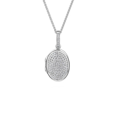Pave Diamond Oval Locket in White Gold - Hamilton & Inches