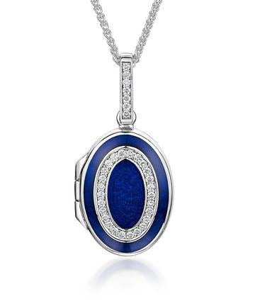 Diamond Oval Locket in 18ct White Gold-Hamilton & Inches