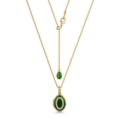 Green Diamond Set Locket in 18ct Yellow Gold-Hamilton & Inches