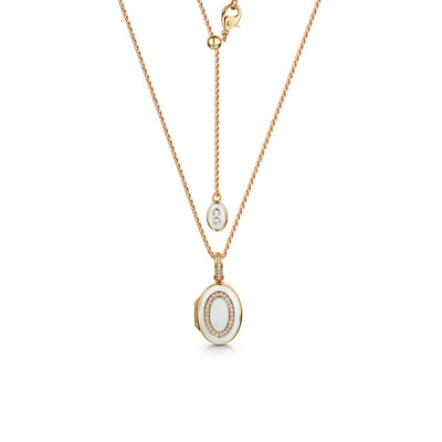 White Enamel Oval Locket in 18ct Rose Gold-Hamilton & Inches