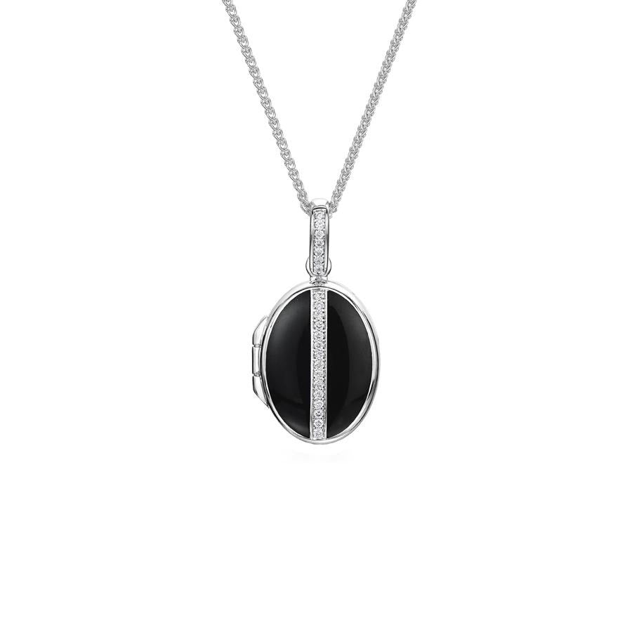 Black Enamel And Diamond Locket in White Gold - Hamilton & Inches